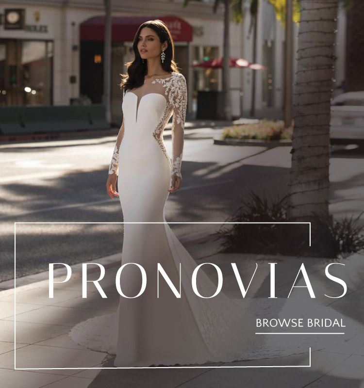 Woman wearing a Pronovias wedding gown